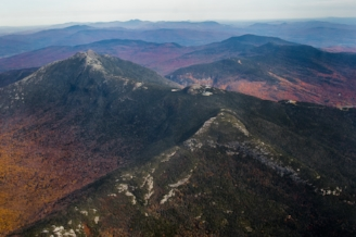 aerial view of Green mountains in fall foliage