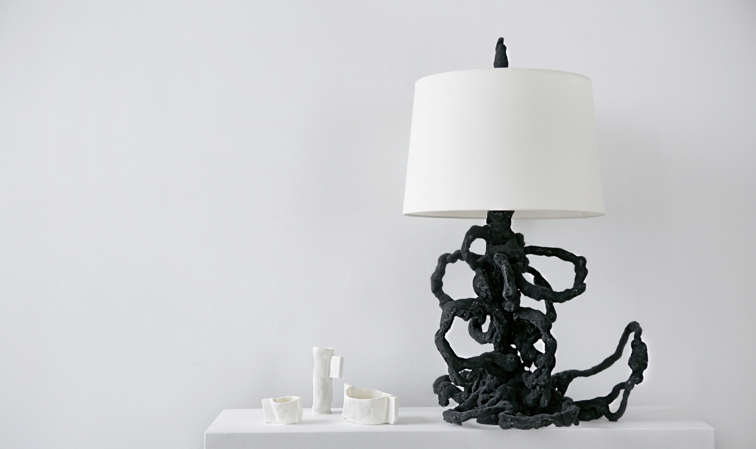 'Vincent's Transformation' Table Lamp with trio of Porcelain Vessels. Photo x Heather Saunders
