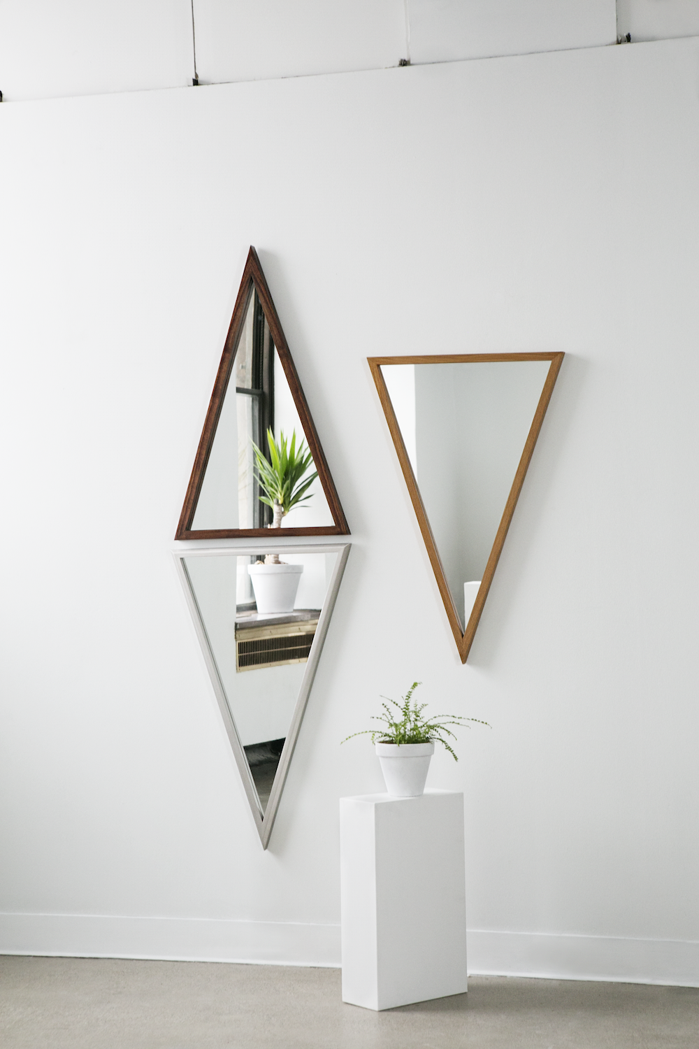 'ISOSCELES' MIRRORS. Photo by Heather Saunders. Styling by NEXT:SPACE.