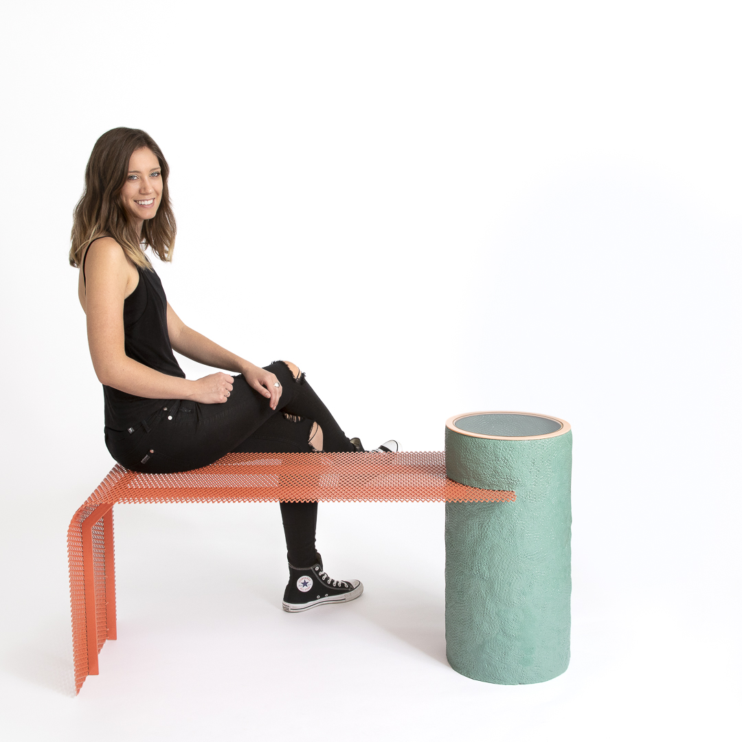 Alanis McNier with her Affinity Bench from 2019. Photo by Amy Rae Mathis at NEXT:SPACE.