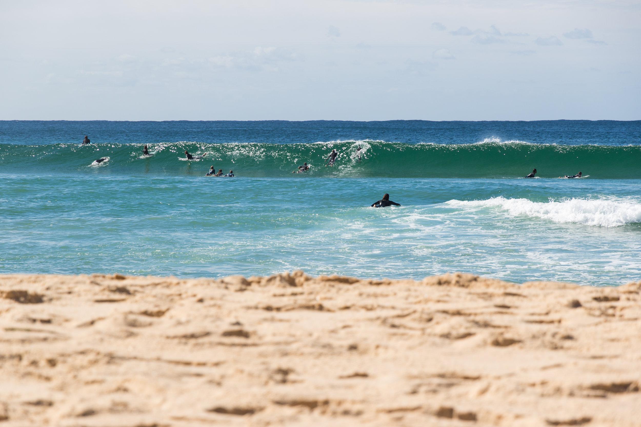 surf lesson in progress