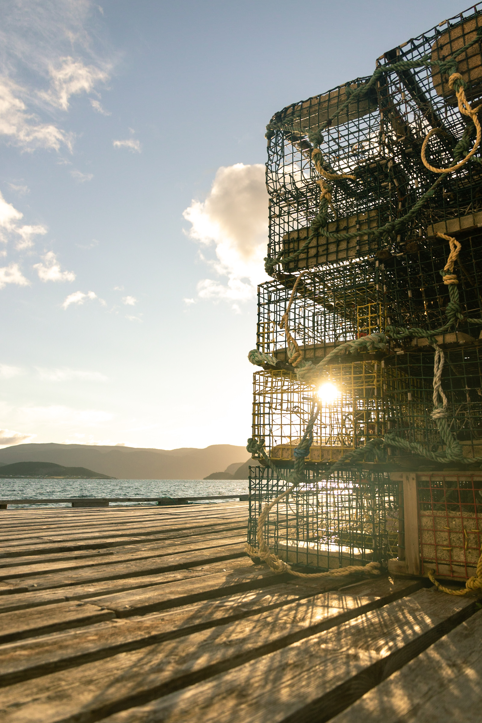 sunrise in Newfoundland peaking through lobster crates