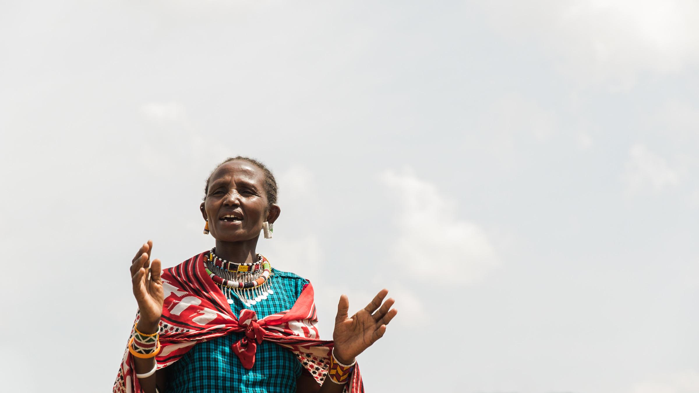 Masai mara women saying thank you