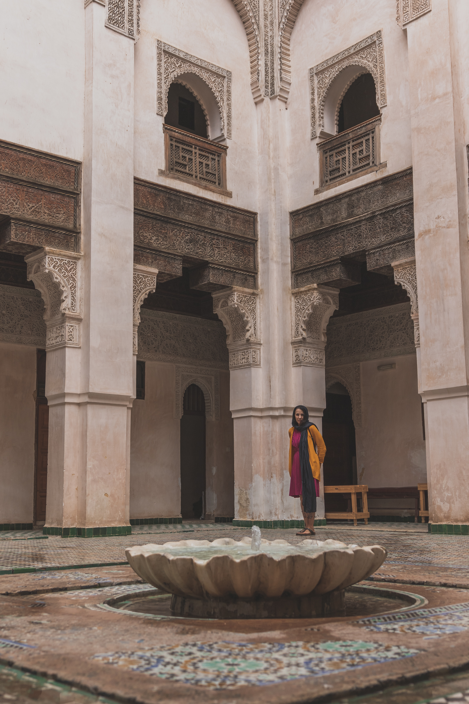 female tourist exploring the architecture of a moroccan university