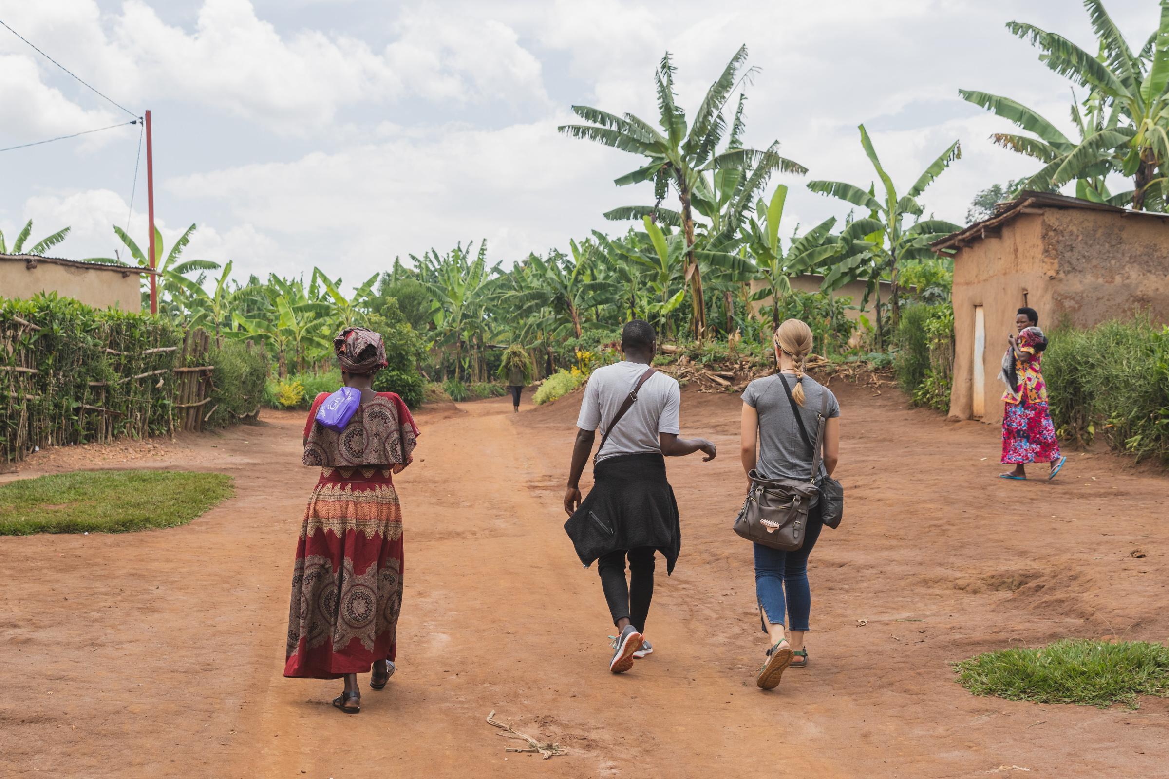 walking through rural rwanda