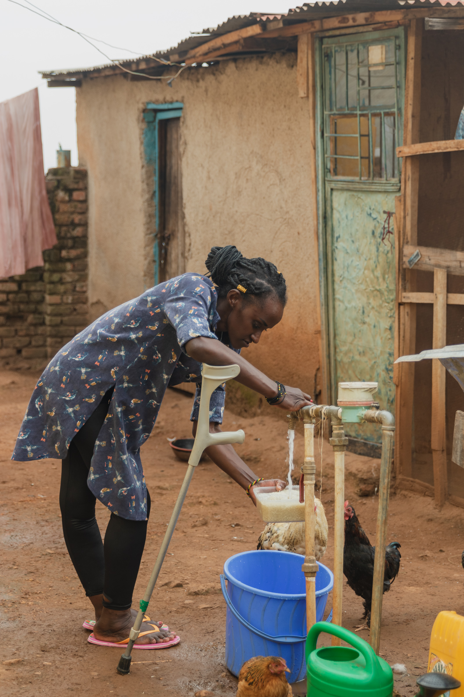 woman with disability doing chores