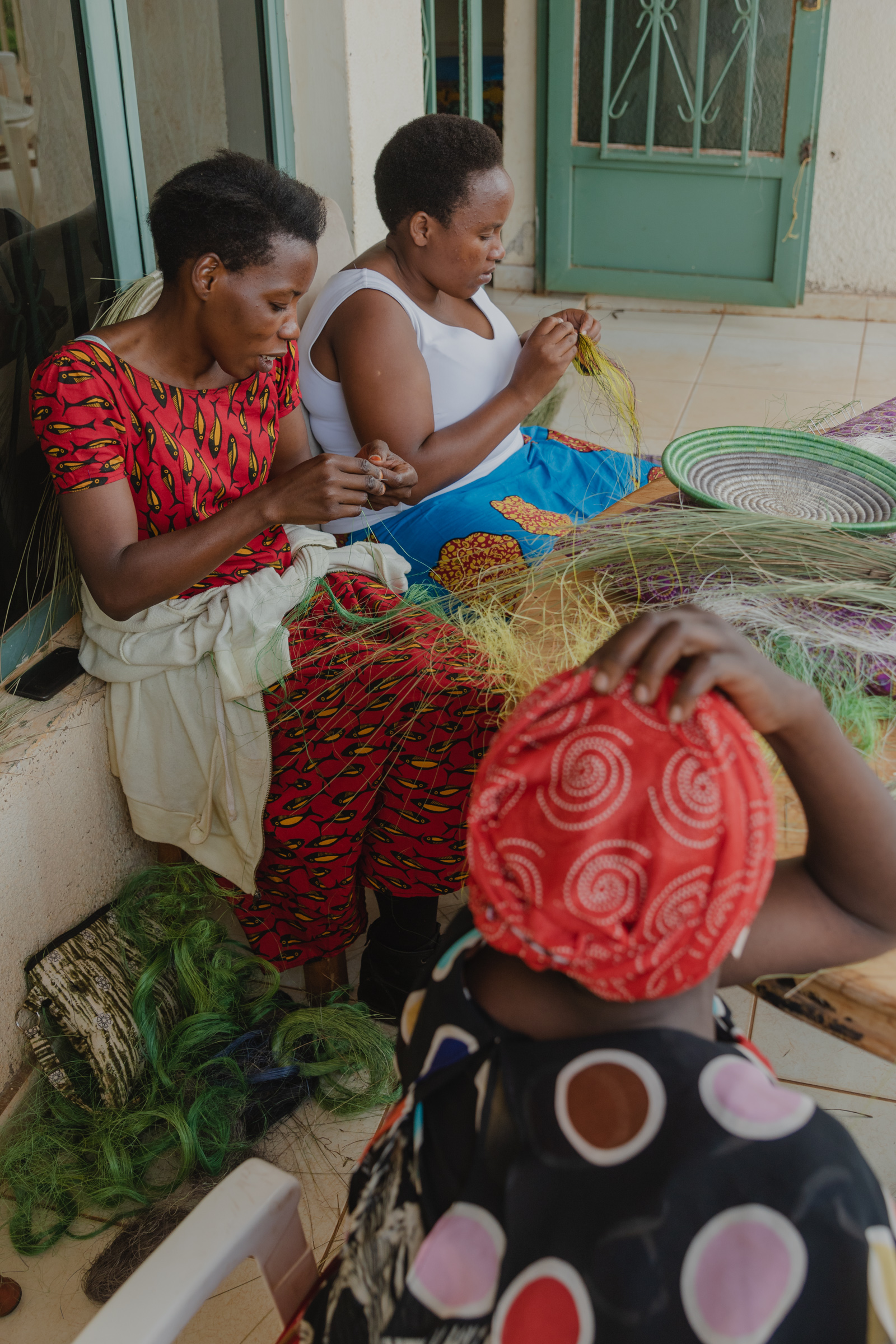 women with disability weaving
