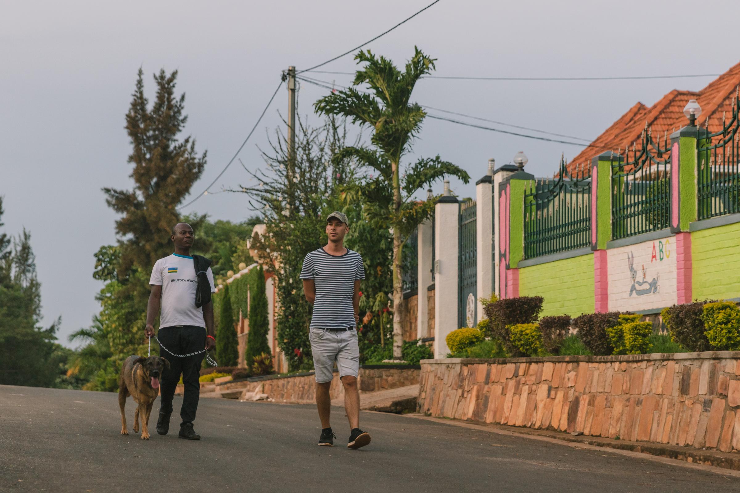 sunset stroll two friends rwanda
