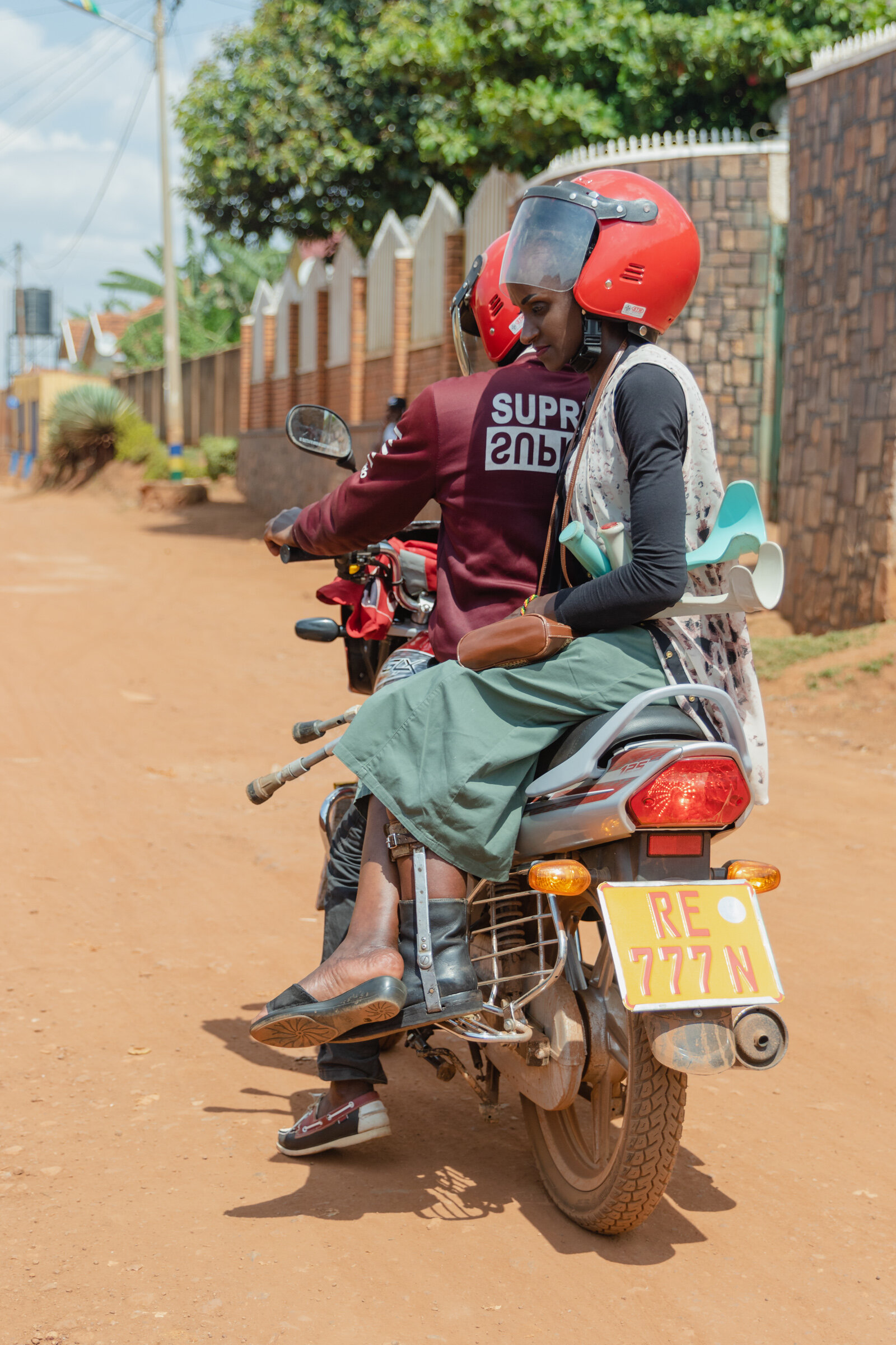 disabled woman on motorbike