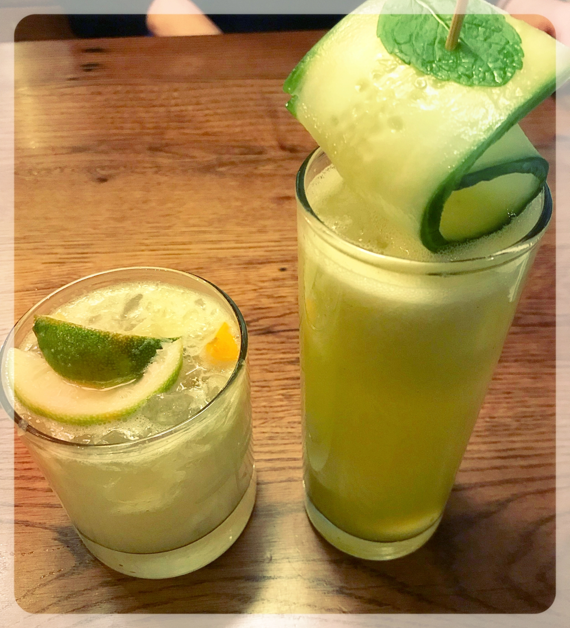 Left: Seasonal Caipirinha  Right: The Reviver