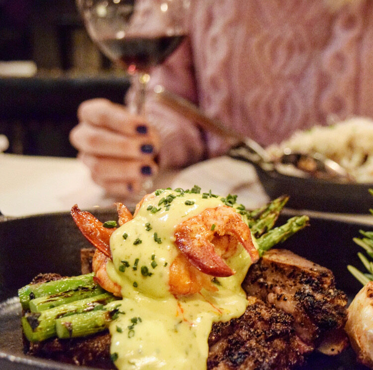 Delicious steak served with the Crab Oscar topping at Steakhouse 316