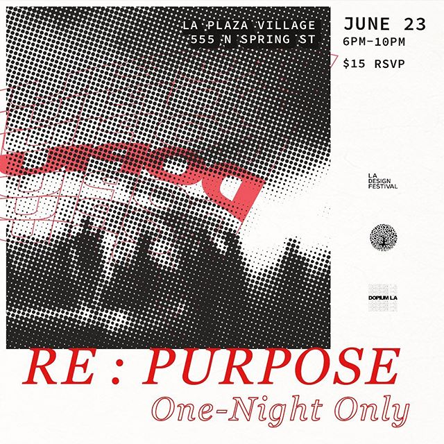 "RSVP IN BIO LINK - A one-night only multi-sensory art experience popping up in Chinatown. Featuring eclectic works from LA artists including experimental sculptures, installations, projections, performances and more. - In collaboration with LA Design Festival's ""Design With Purpose"" narrative this year, RE:PURPOSE challenges artists to open the conversation around intentional design, and showcase personal perceptions of purpose. RE:PURPOSE also references undertones of sustainability and recycling, from repurposing materials to breathing a new life into previous projects that may have not had to chance to be completed."