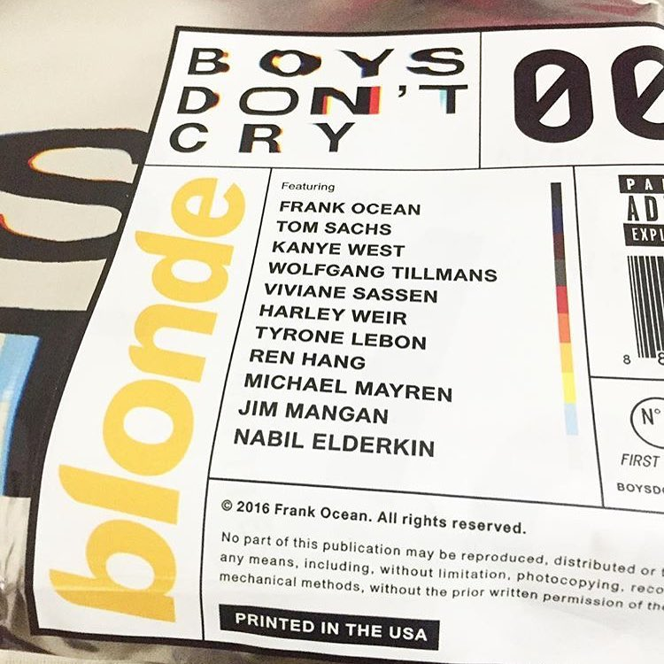 Boys Don't Cry by Frank Ocean Released today 🙏🏼