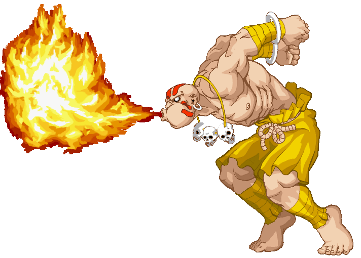 "Dhalsim performing ""Yoga Flame"" from Street Fighter II"