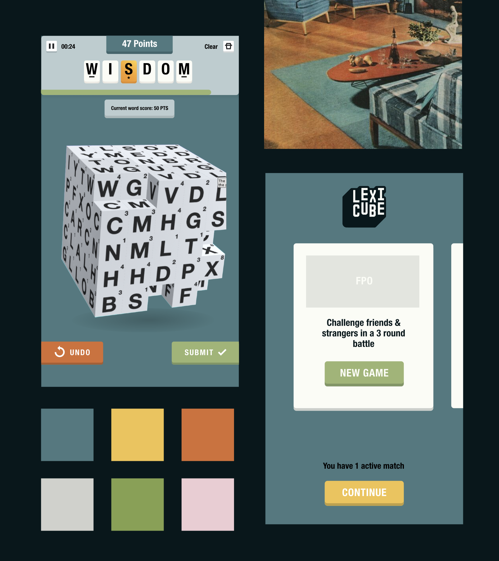 Color themes inspired by mid-century interior colorways.