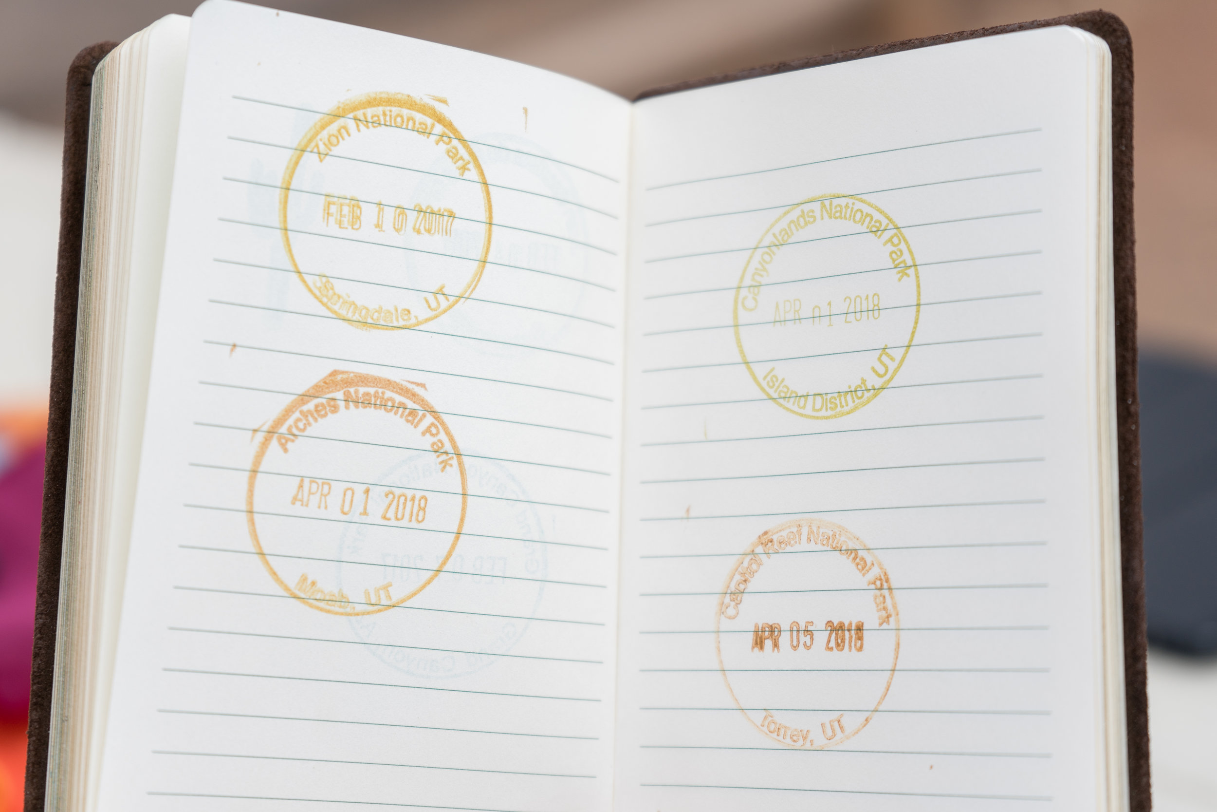 More stamps in the national park passport book