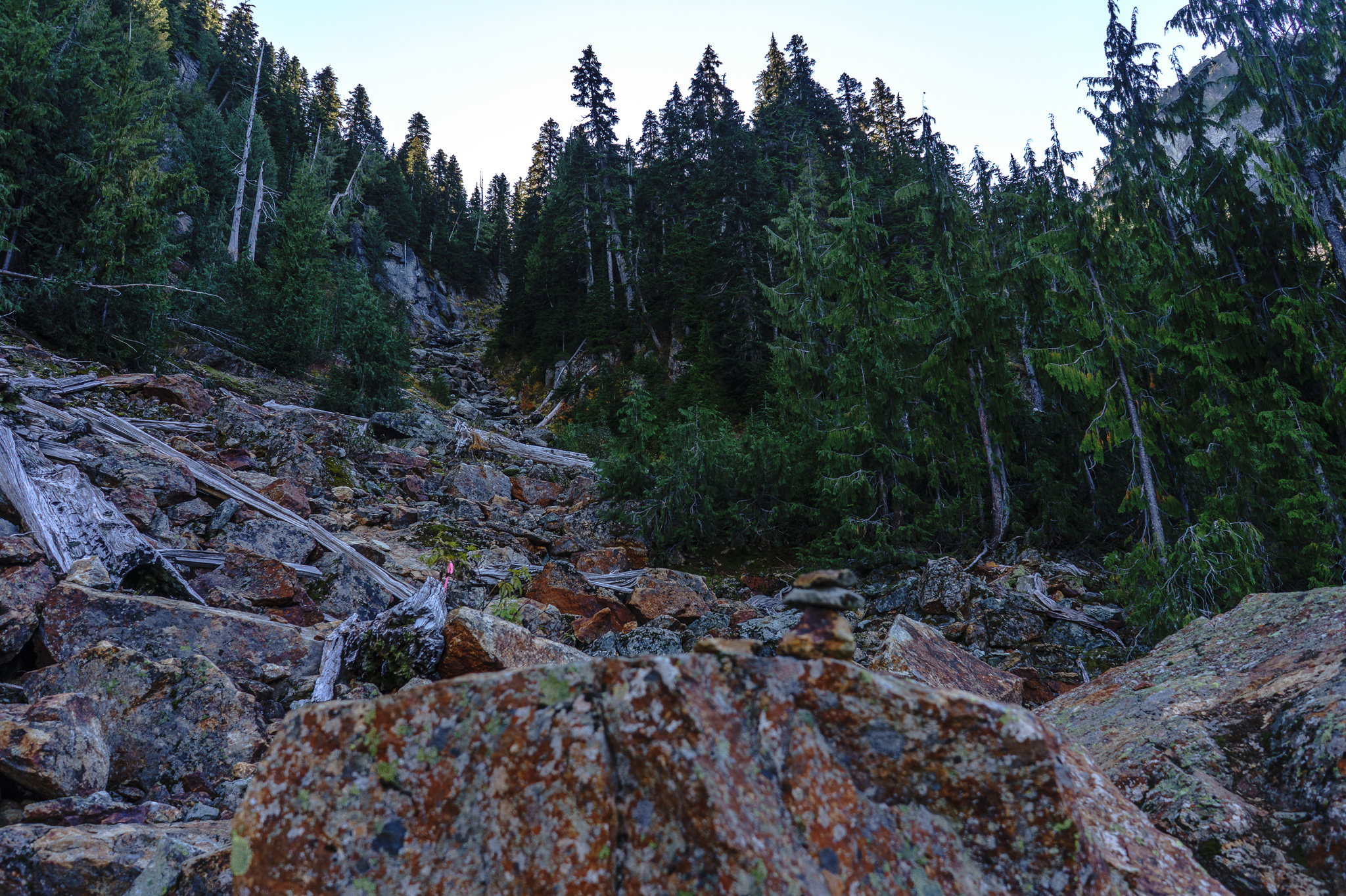 """This is the """"trail"""" up to Jade. The trail is rocks."""