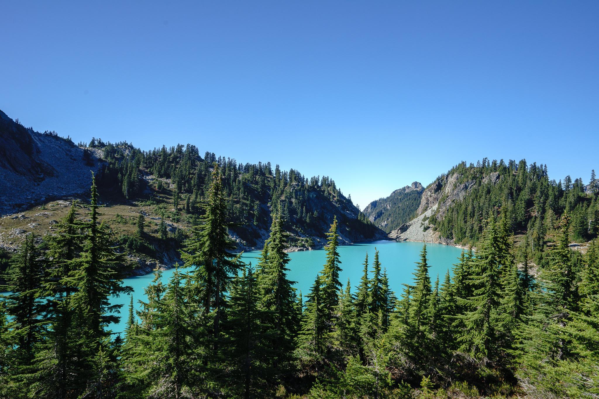 Climbing above Jade Lake