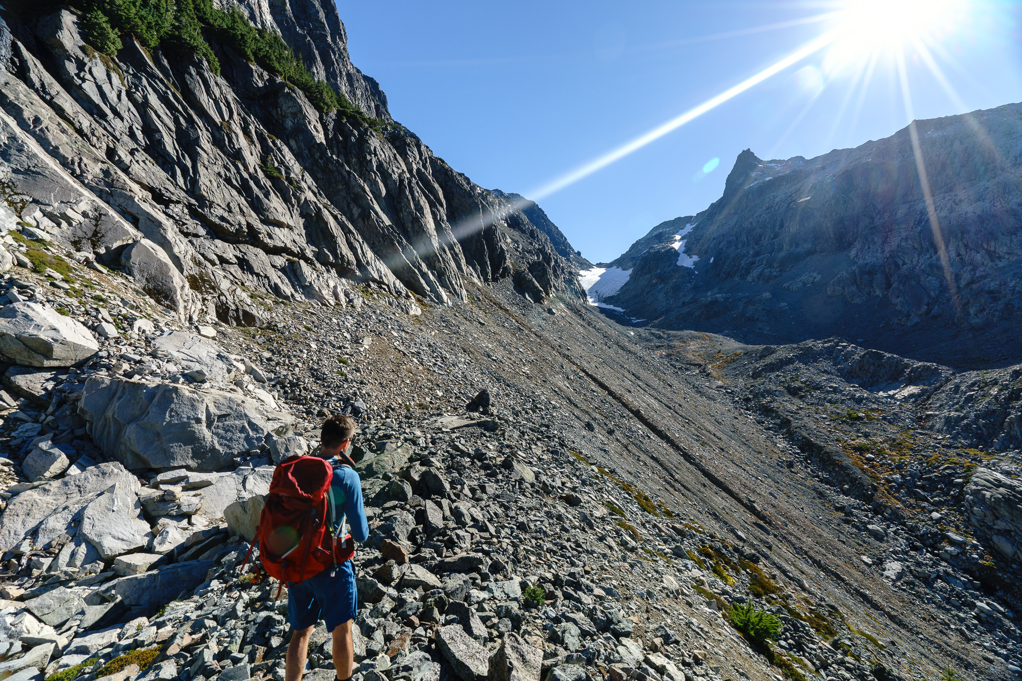 Nasty scree field. Don't be like us. Go down to the gully instead.