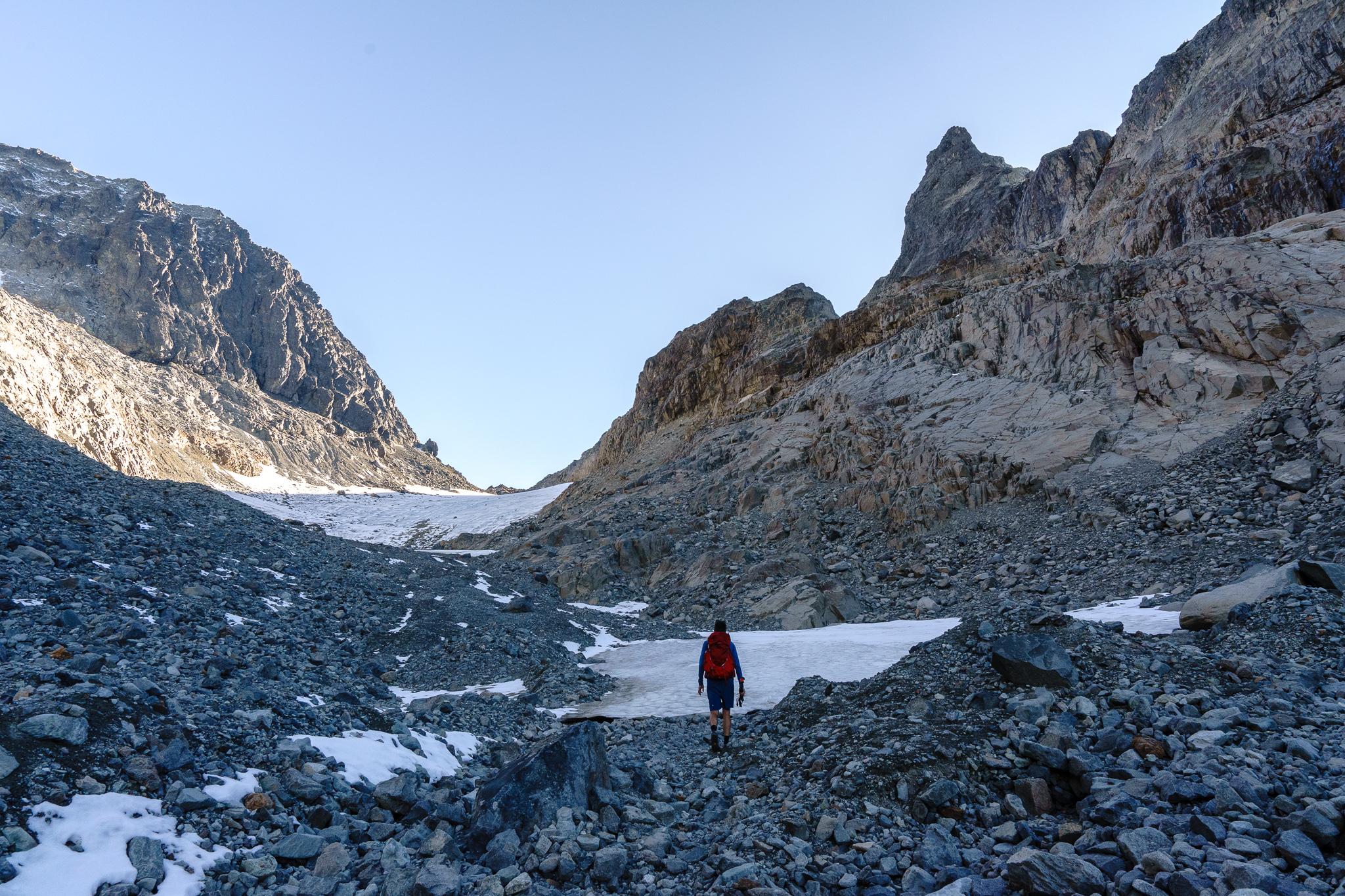 Rocky gully up Dip Top Gap