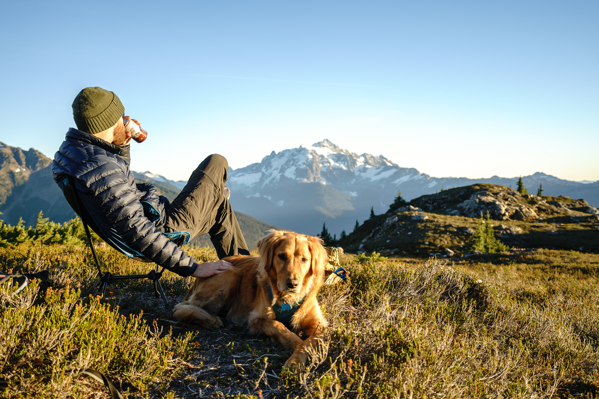 Beer, cute dog, good mountains. Nothing better.
