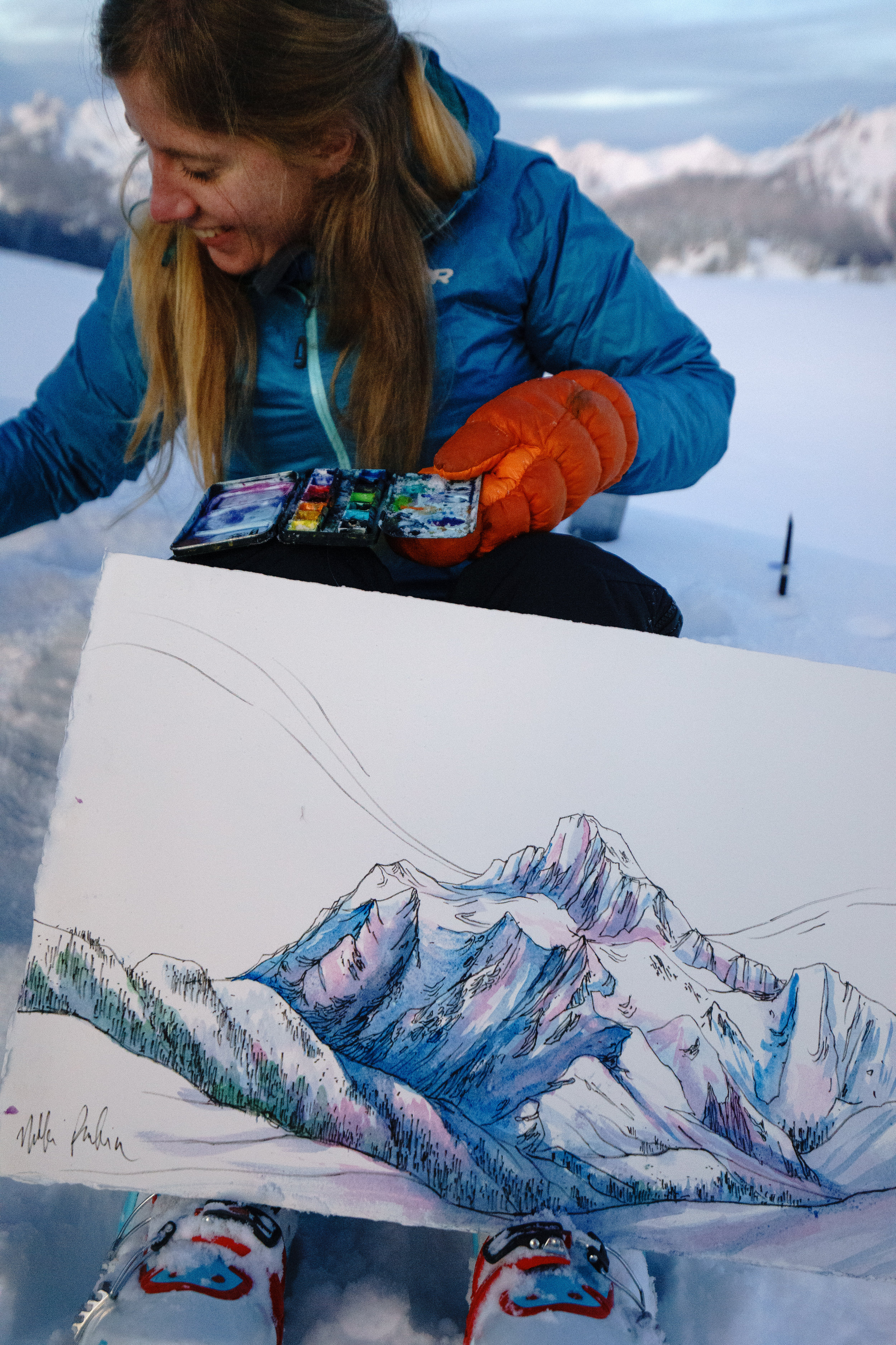 Drawn to High Places and her painting of Shuksan!