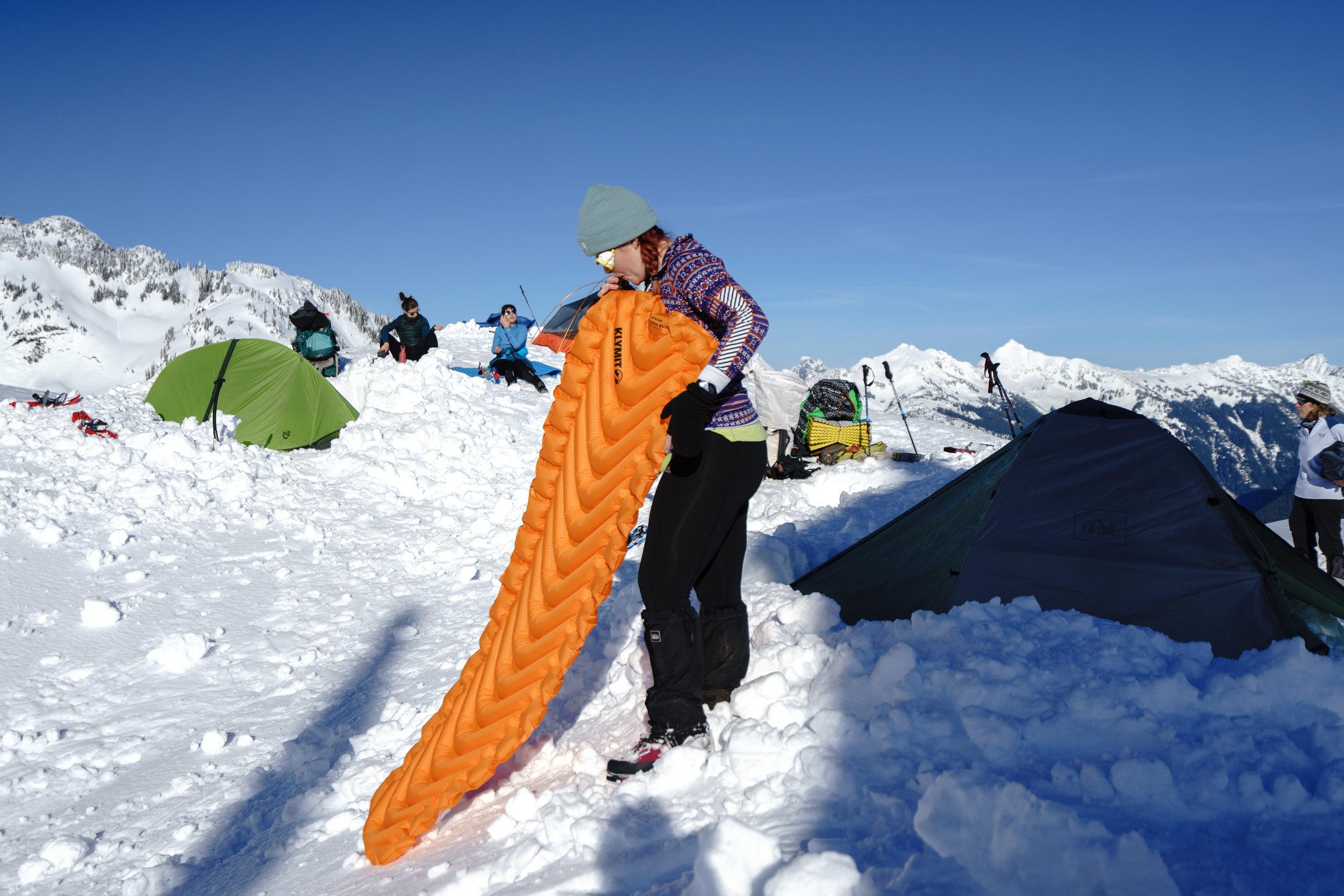 Kaelee setting up camp