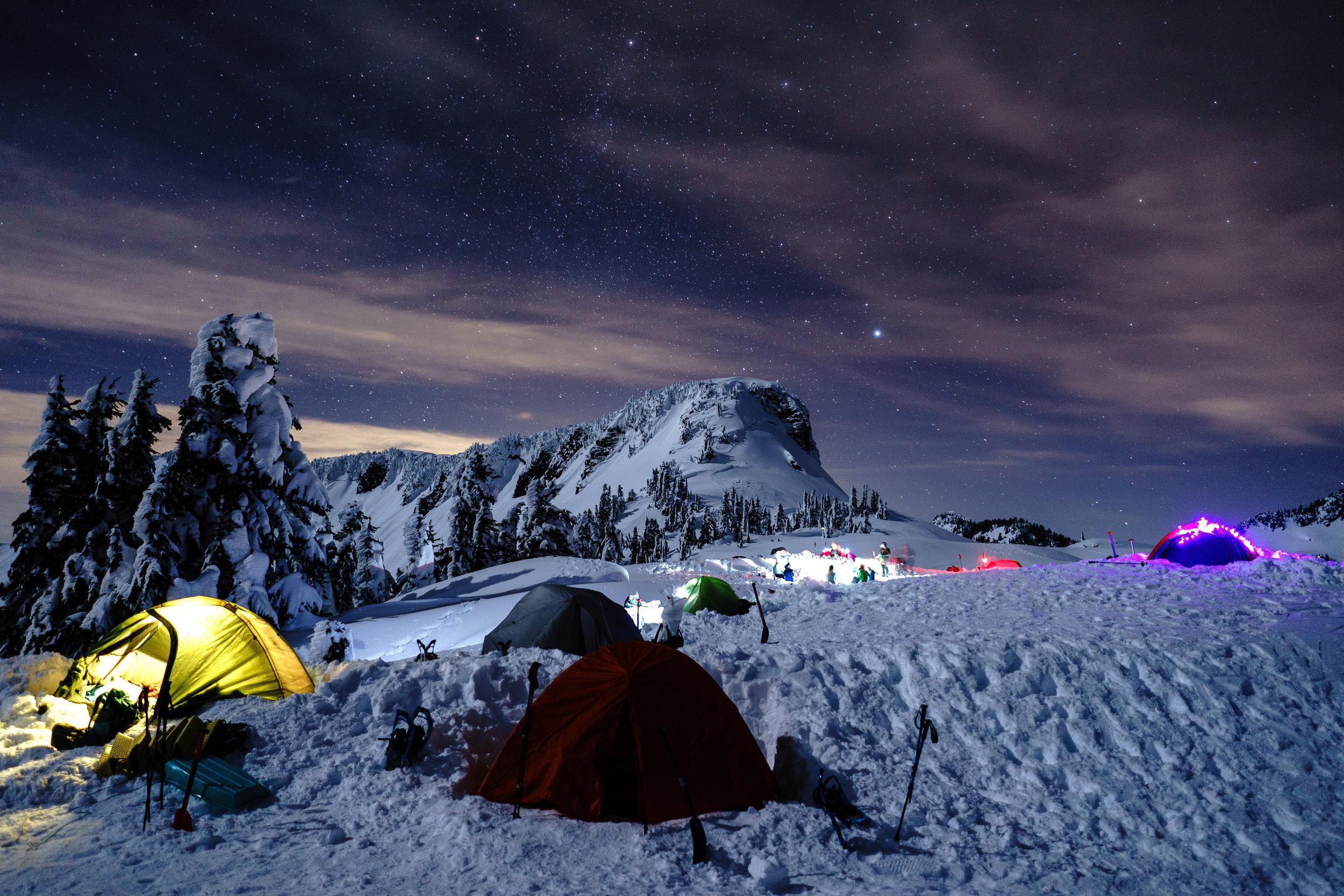 Tent city lit up