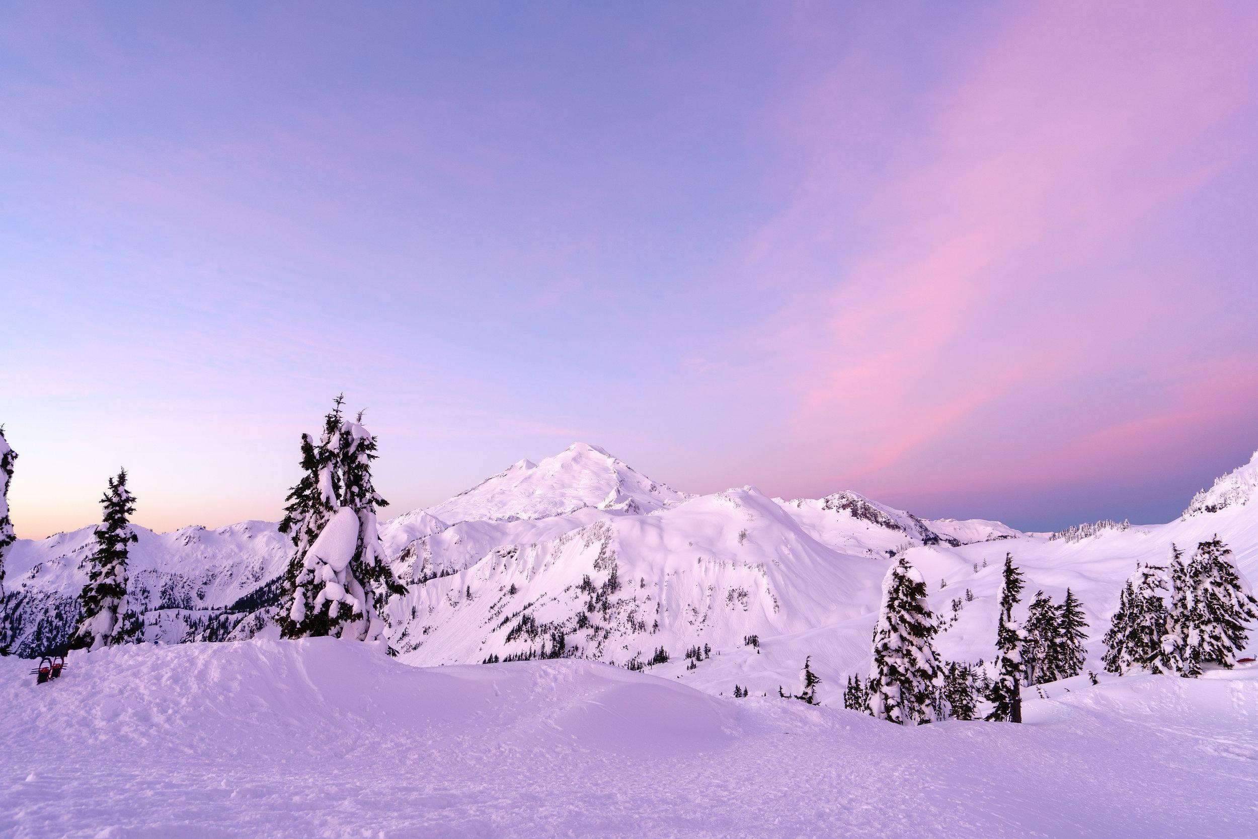 Sunrise cotton candy colors over Mt. Baker