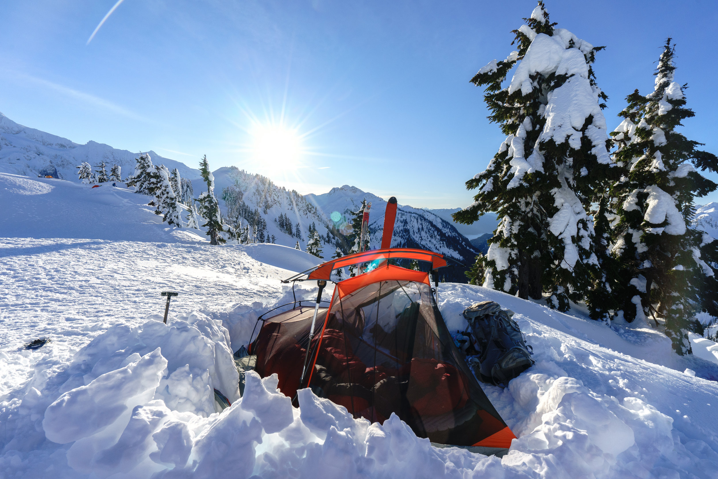 Even this ultra light backpacking tent did fine snow camping! Go with what you have.
