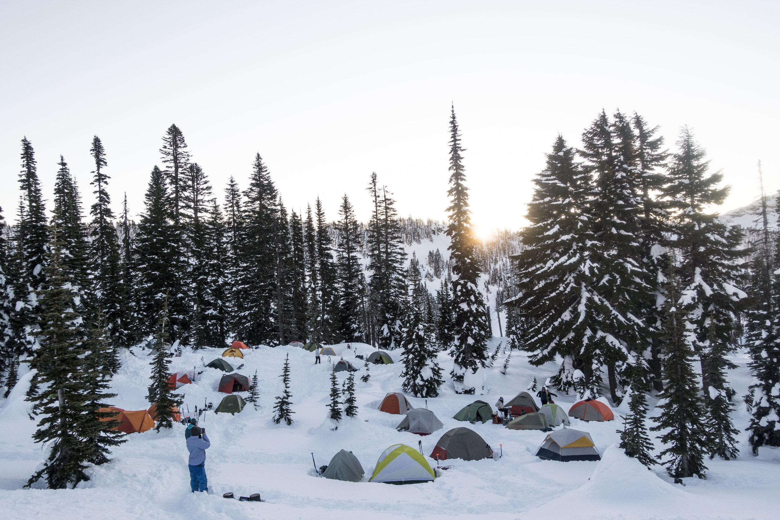 Group site at Paradise, Rainier. Special permit needed for a group of this size.