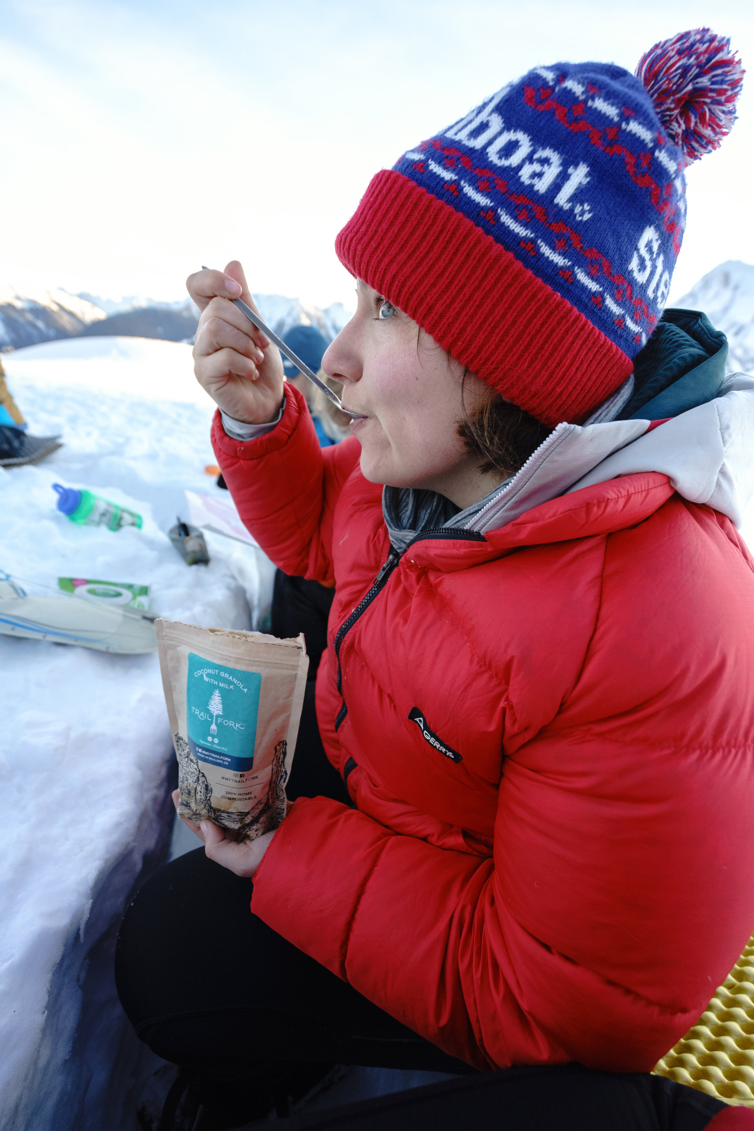 Warm food for breakfast is something I always look forward to winter camping!