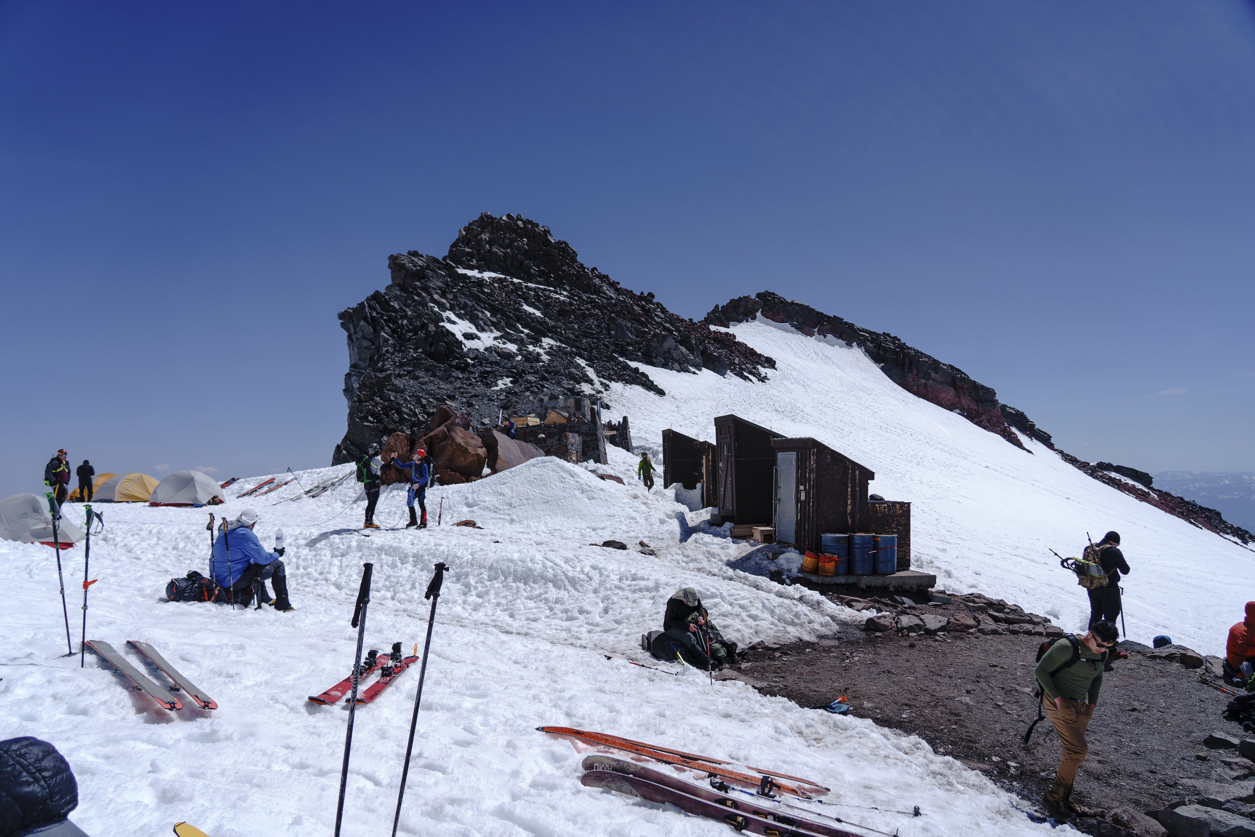 There are even pit toilets at Camp Muir!