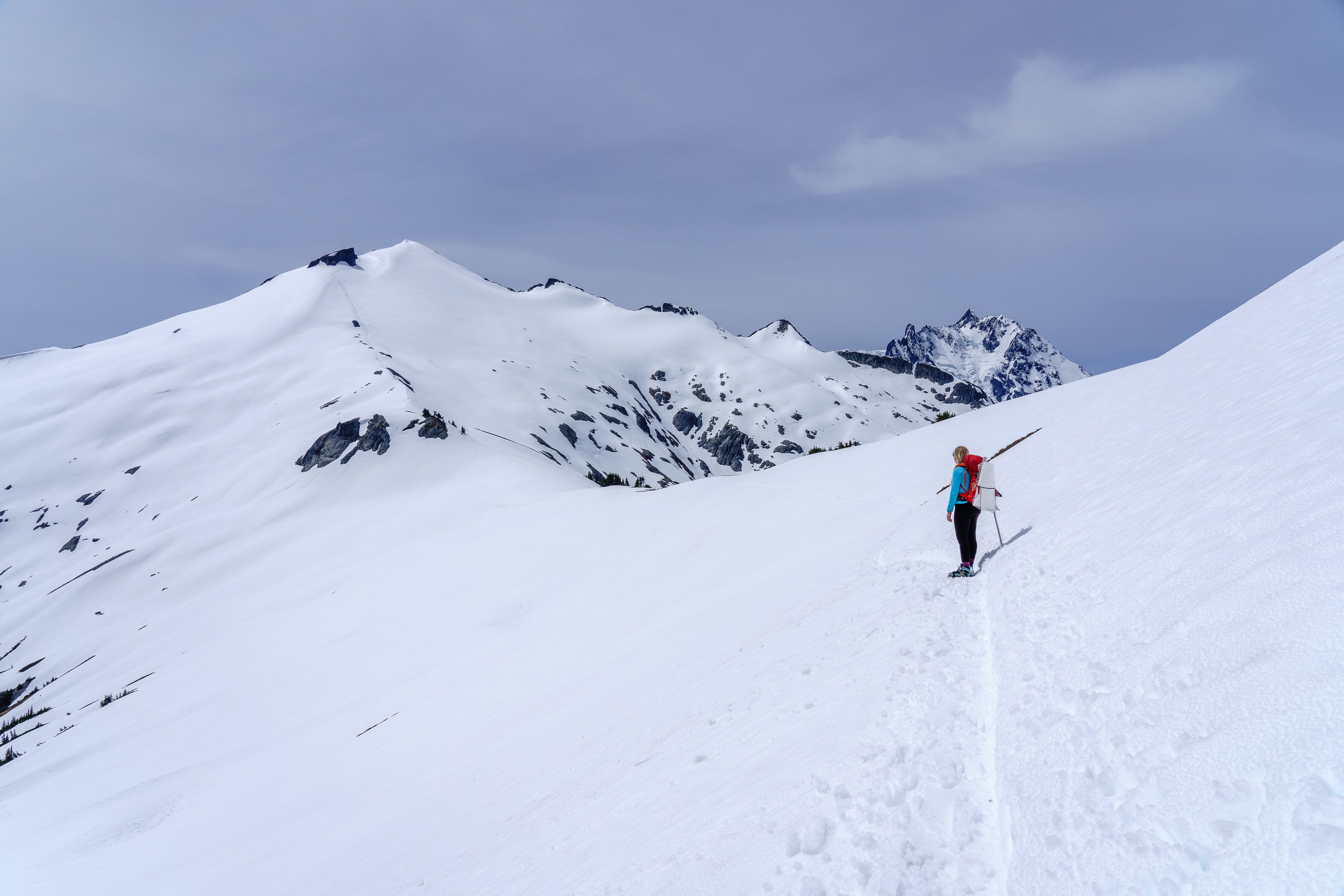 Ruth on the left. The route travels up the ridge and then to the right. Suksan on the right.