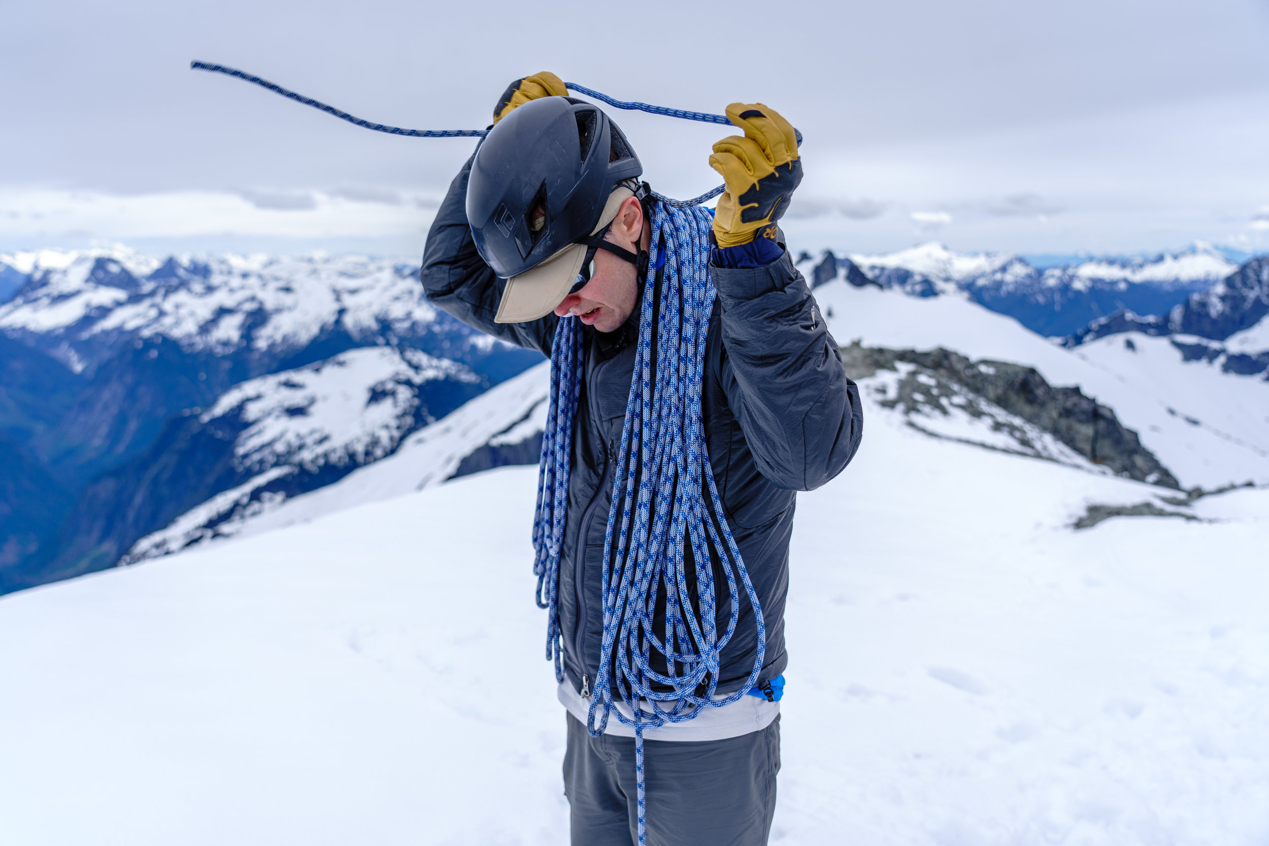Shawn coiling the rope