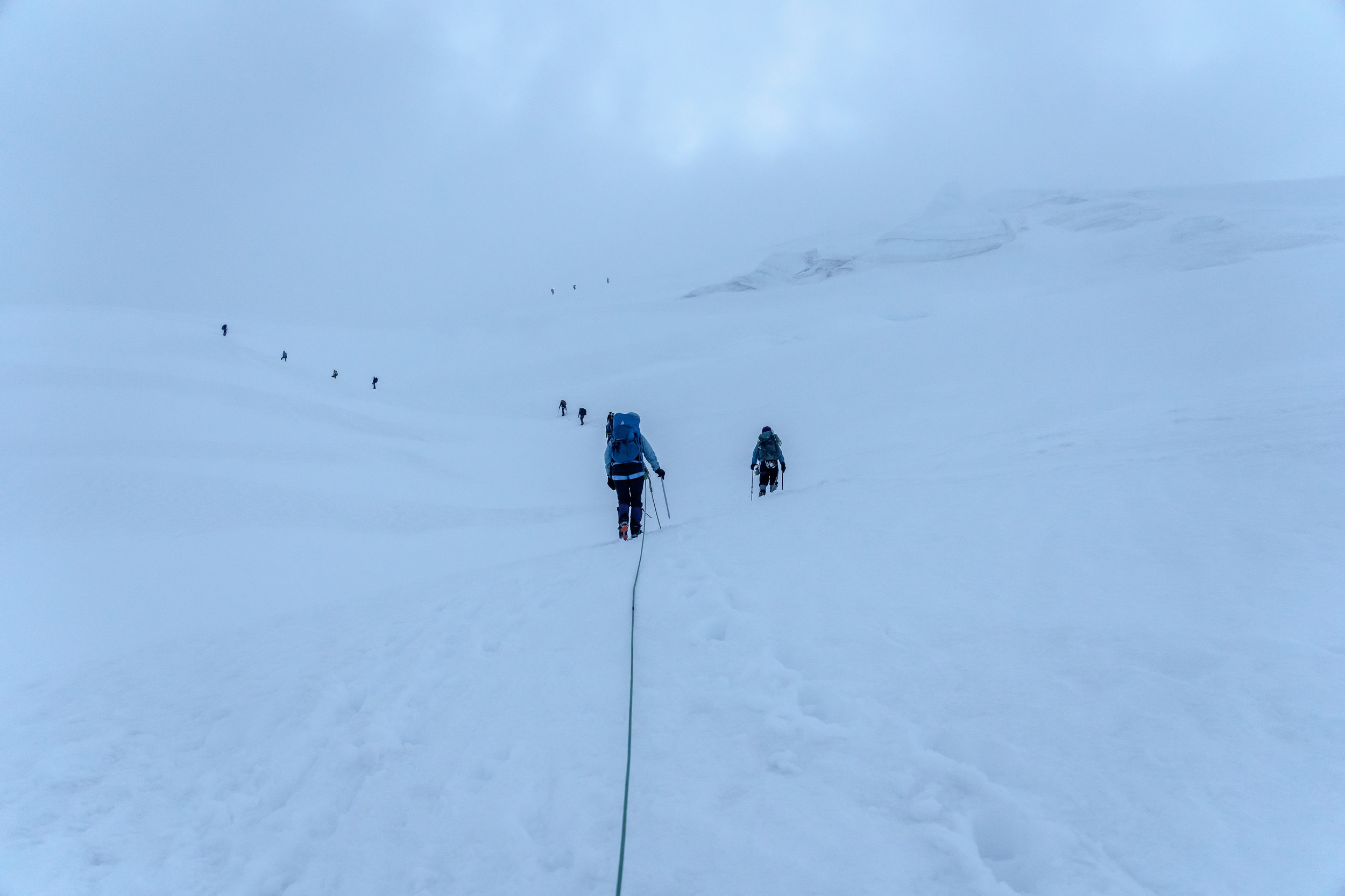 Climbers going up