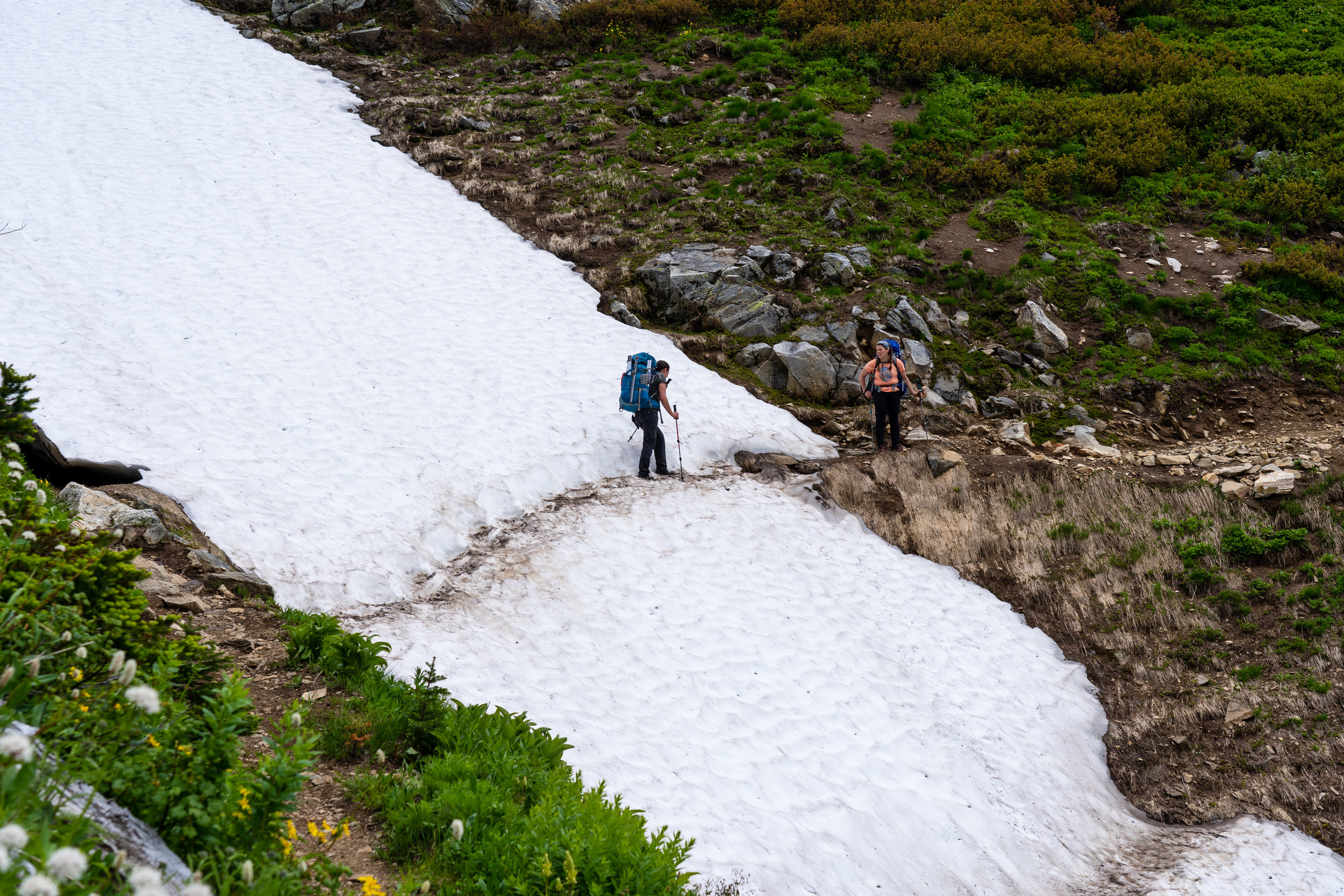Some of these snow crossings on trail were more precarious than any of the snow glacier sections