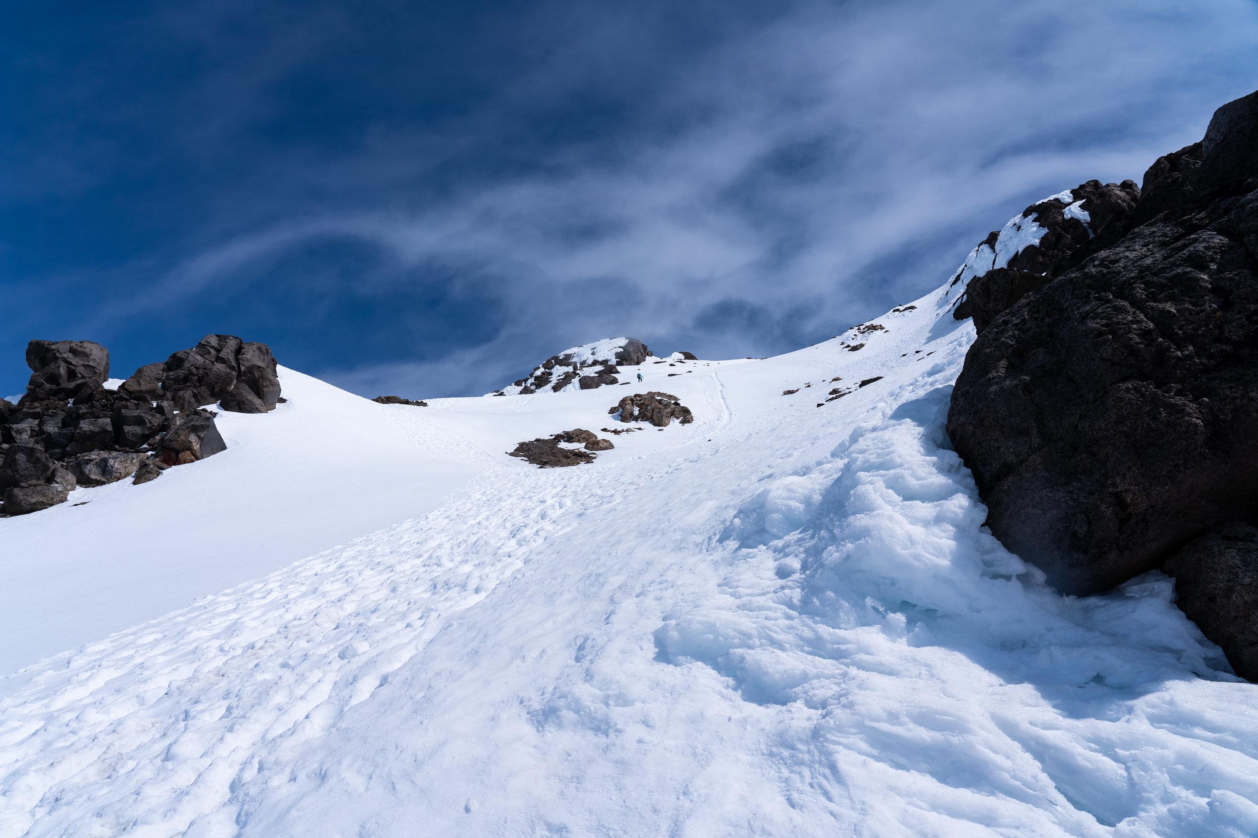 Final snow climb