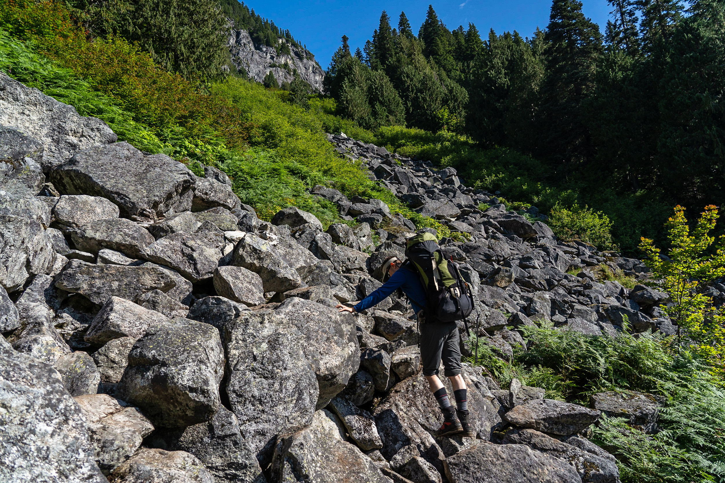 Here we go up the boulder field