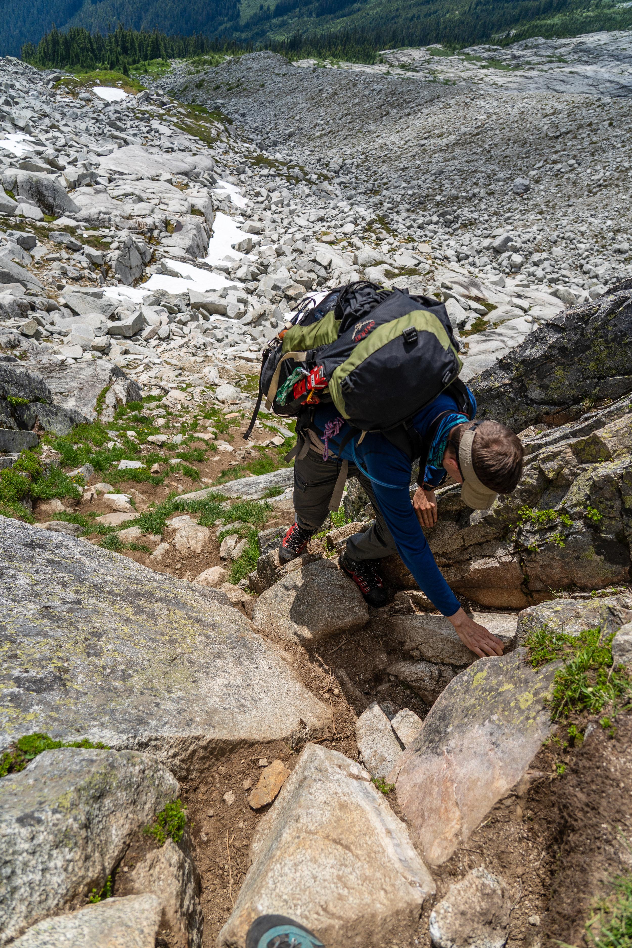 Short scramble down climb