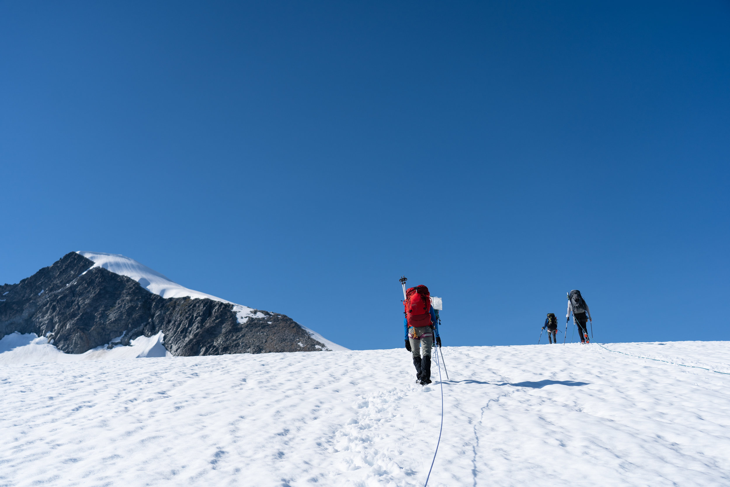 Cresting the hill, the next section of glacier would be flat