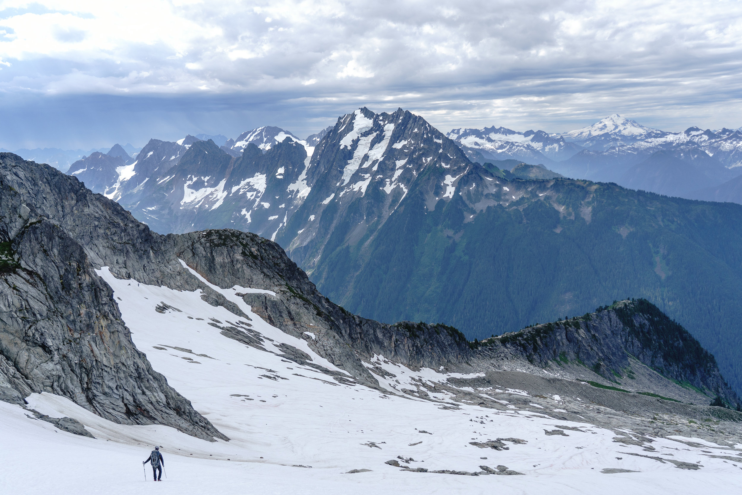 Hiking down. Glacier Peak far in the distance.