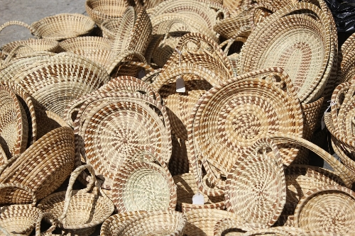 Sweetgrass Basket display, a historical Gullah artistry pasted down for generations