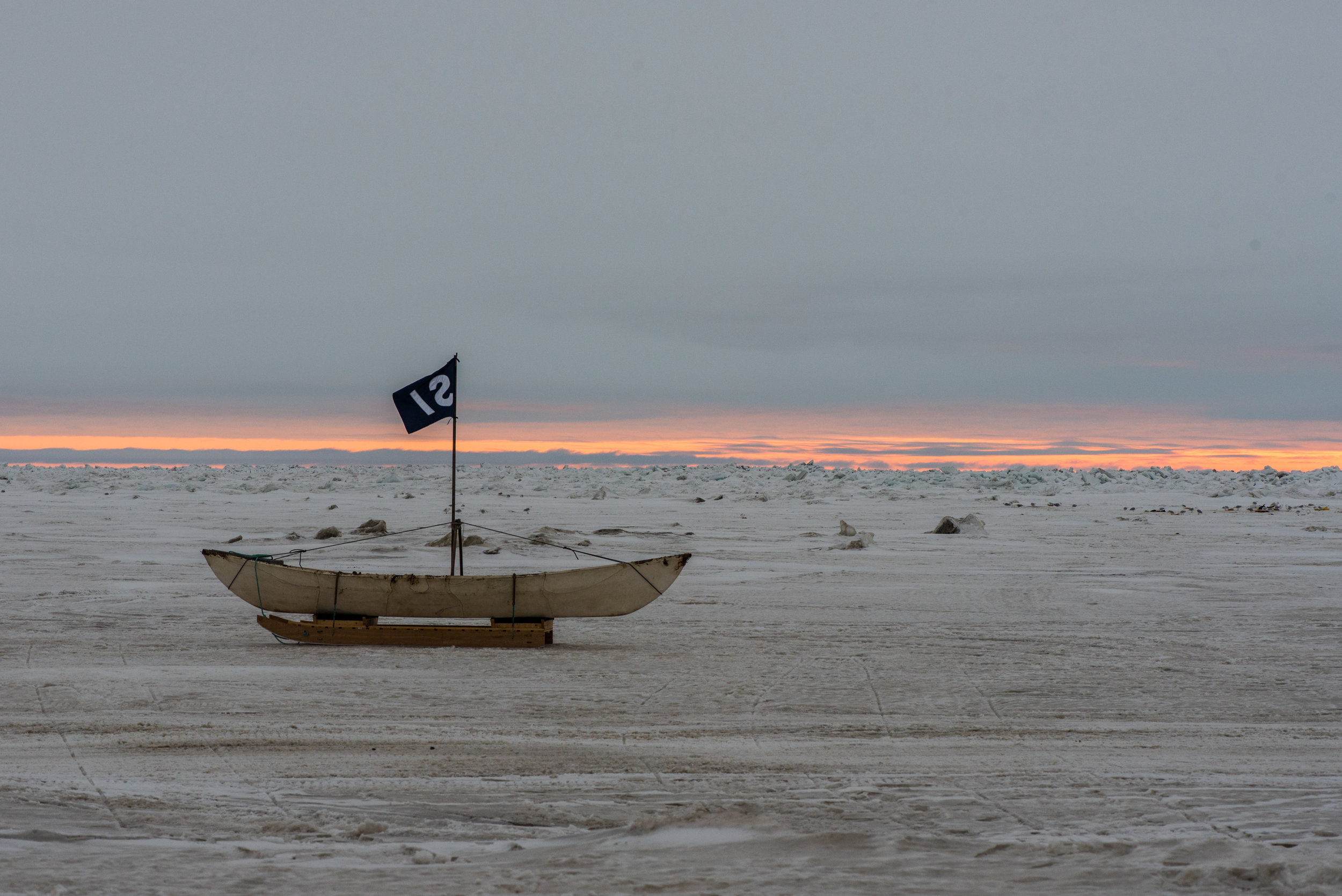 Traditional whaling boat made from sealskin drying on the sea ice.Photo credit: A. Torstensson