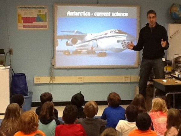 Dr. Sven Kranz talks to Princeton school children.  Photo courtesy of Princeton Patch and Princeton Public Schools.