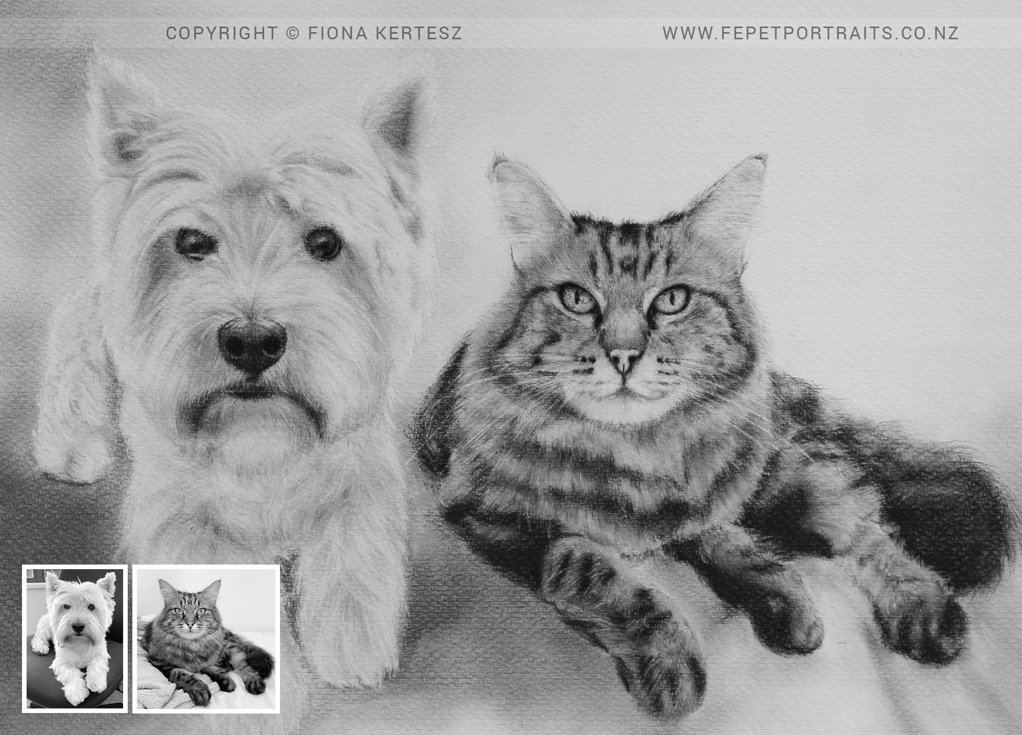 Freddie and Bax, Pencil Portrait, 16 x 12 inch