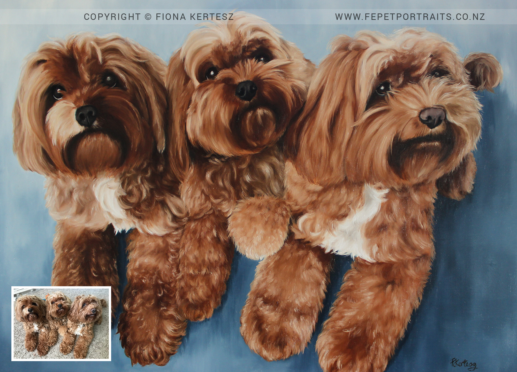 Harry, Eddie and Archie, Oil Portrait, 18 x 24 inch