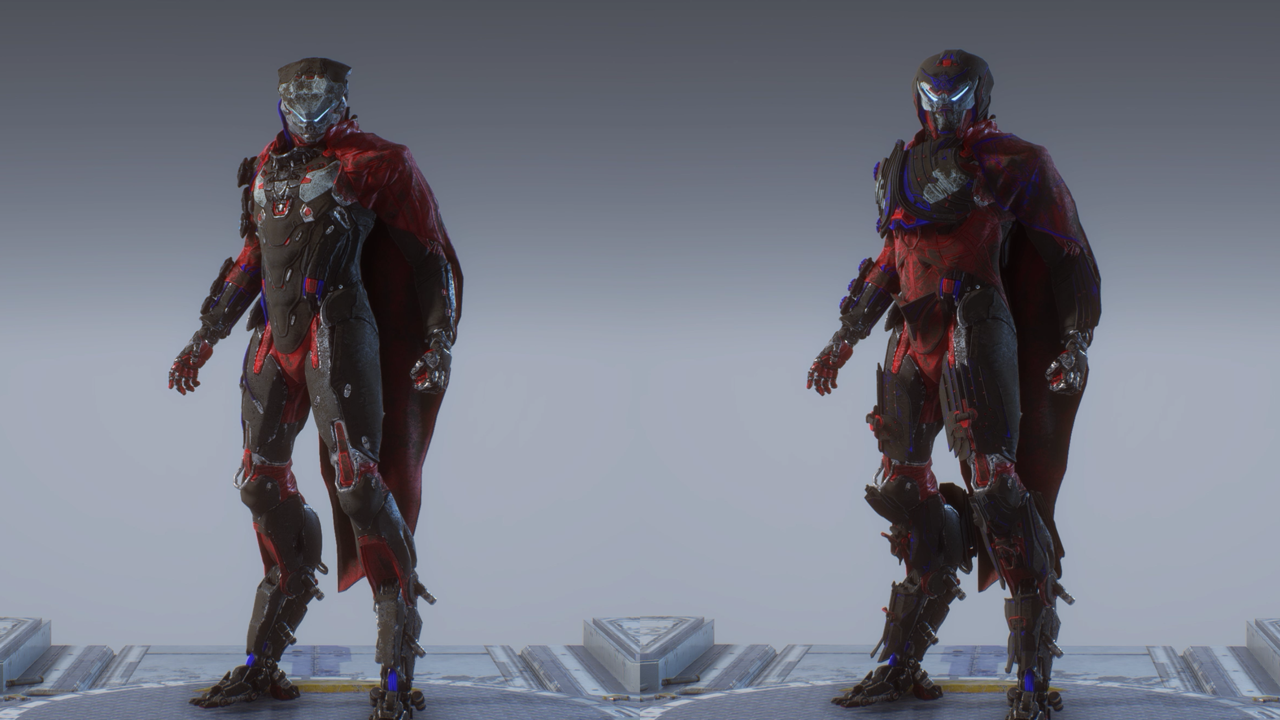 Left is the standard Armour Set of the Storm, which is still rather badass, Right is the Legion of Dawn edition Armour Set which is even more spectacular.