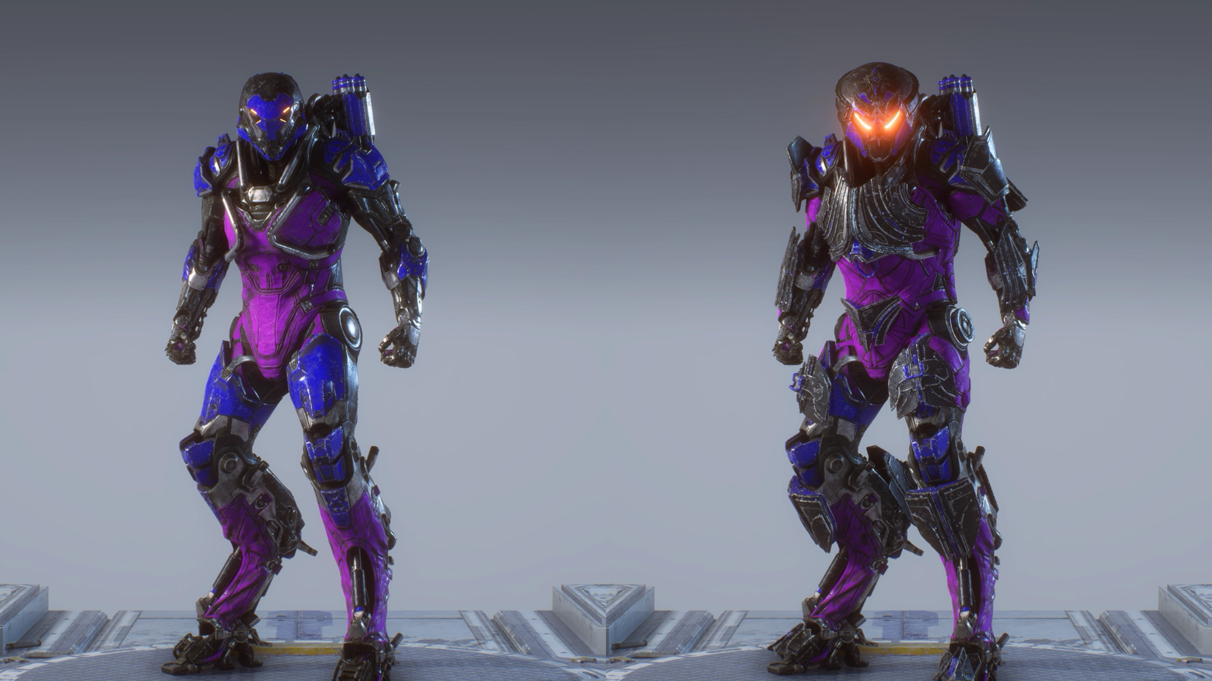 On the left is the default Armour Set, bare in mind that for all of these builds shown, I have used my own custom Paint job.  The Default is nice but very standard, the Legion of Dawn armour set on the right is, as expected, far superior in detail and general look.
