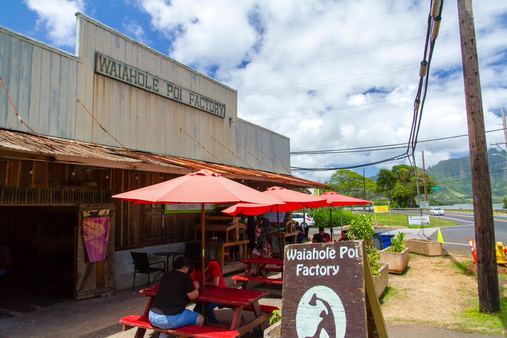 Waiahole Poi Factory for poi and Hawaiian food. Try the Sweet Lady of Waiahole desssert!  https://www.waiaholepoifactory.com/